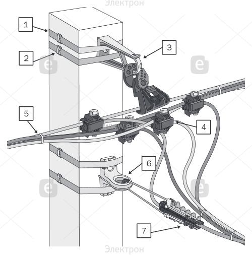 Анкерный зажим AC 6 260 для кабелей со стальным несущ.тросом 3-6мм | НПО  ПасКом | 508x500